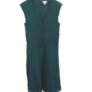 Garnet Hill Navy Blue V-Neck Gauze Dress 12P